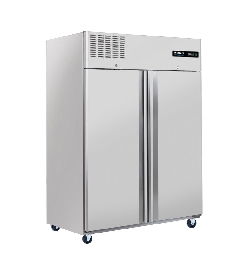 Blizzard Ventilated Gastronorm Double Door Freezer - 1200 Litre Stainless Steel,Solid Double Door Refrigerator,Blizzard