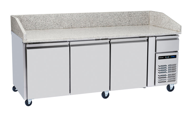 Blizzard Refrigerated Pizza Prep Counters, White Granite Top - 635 Litre,Pizza Prep Counter,Blizzard