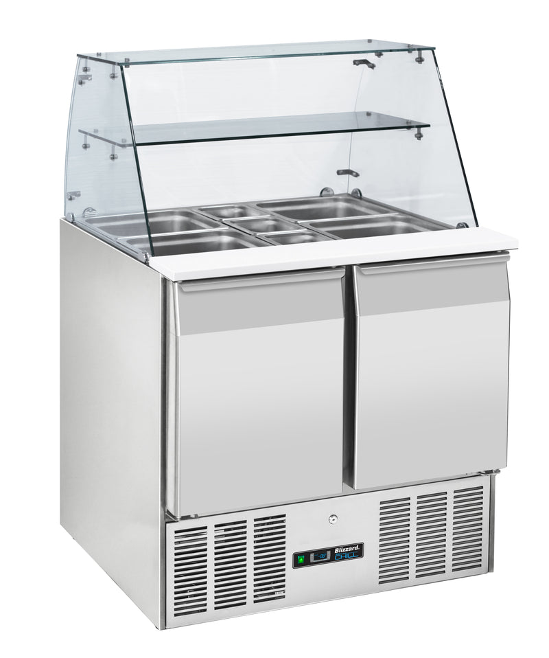 Blizzard  Gastronorm Refrigerated Prep Station With Display - 220 Litre,Saladette Counter,Blizzard