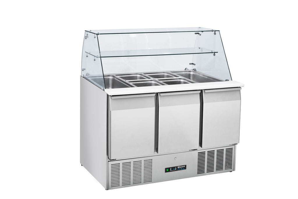 Blizzard  Gastronorm Refrigerated Prep Station With Display - 350 Litre,Saladette Counter,Blizzard