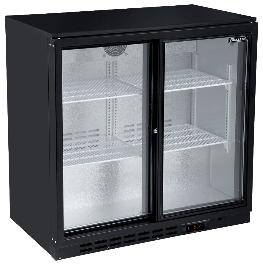 Blizzard Low Height Bar Bottle Cooler Two Sliding Door,Bar Bottle Cooler,Blizzard
