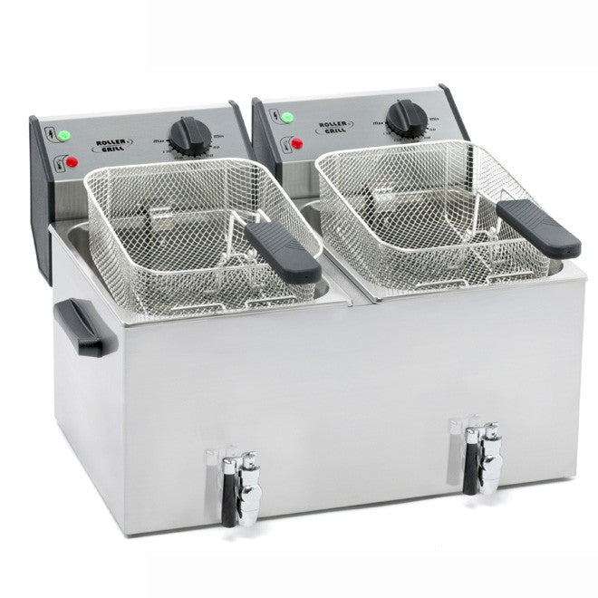 Roller Grill FD80DR Electric Double Pan Fryer 570W x 480D x 350H (mm) 2 x 3kW,Fryers - Electric,Roller Grill