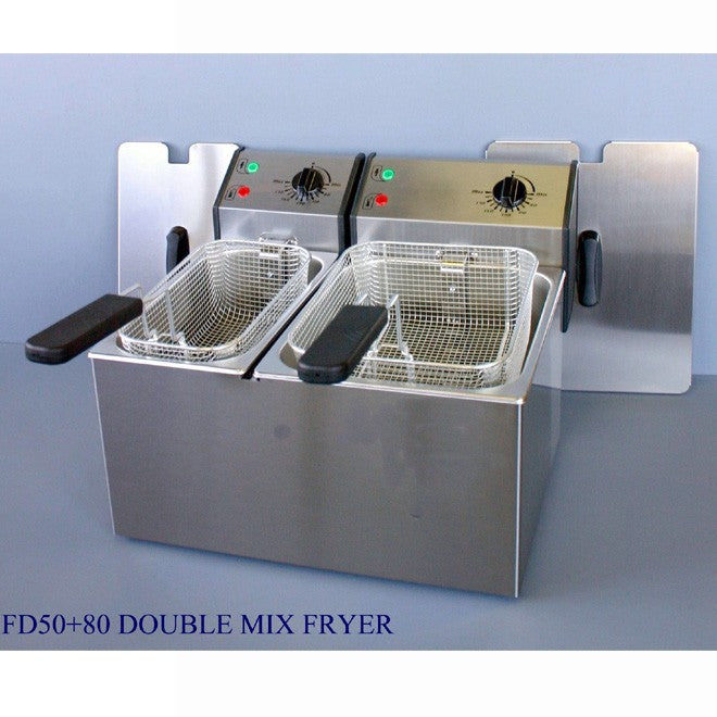 Roller Grill FD50+80 Electric Twin Pan Fryer 445W x 420D x 320H (mm) 2 + 3kW,Fryers - Electric,Roller Grill