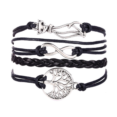 Women Cat Tree Multilayer Knit Leather Rope Chain Charm Bracelet Gift - MeowUp