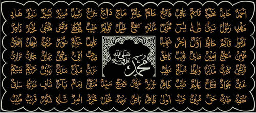 99-NAMES OF MOHAMMAD(SAW) ISLAMIC TUGHRA EMBROIDERED VELVET FABRIC