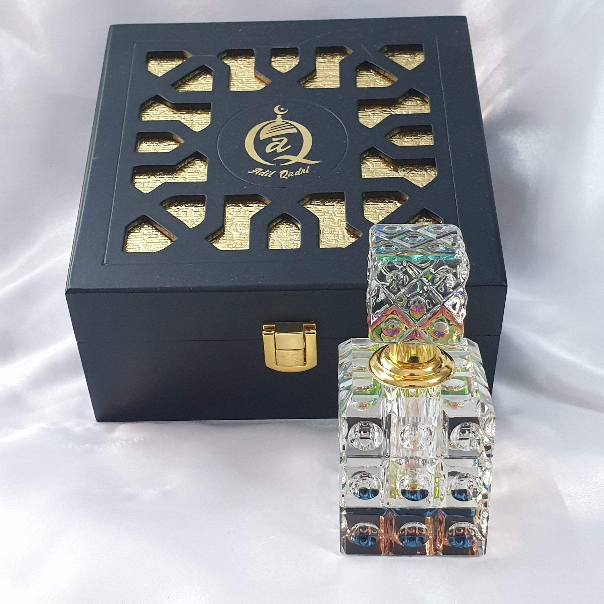 Adil Qadri EXCLUSIVE  Musk Abiyad ( White Musk )  Premium Quality PURE  Attar GIFT BOX With Antiqe Crystal Bottle