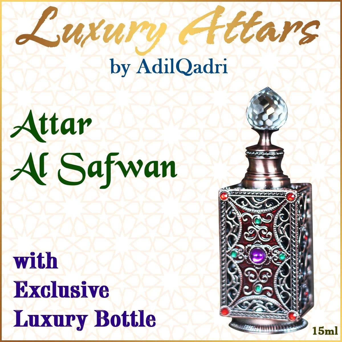 Adilqadri Attar Al Safwan Luxury savour unisex Non Alcoholic Synthetic Attar perfume
