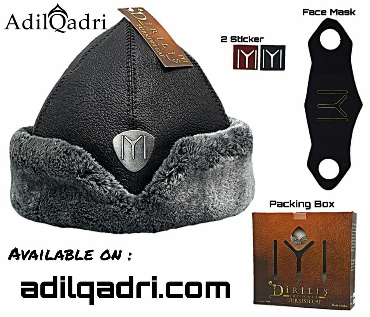 Adilqadri Ertugrul Cap Winter Bork hat High Quality Hand Made Model D5 With Free Face Mask  AdilQadri Series 2020