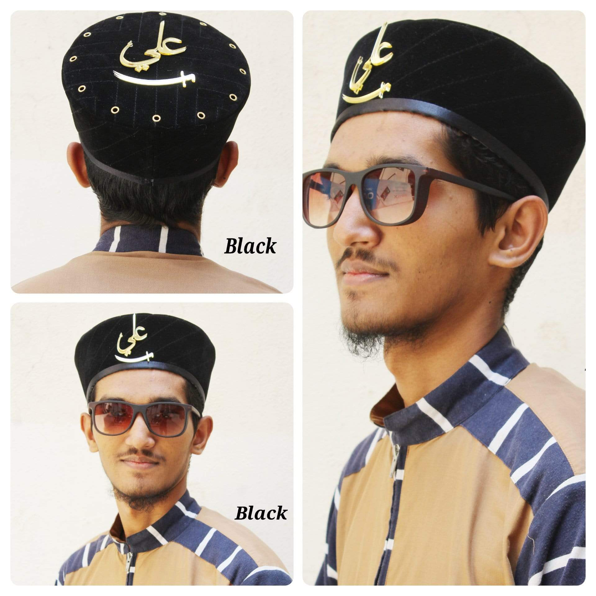 Adilqadri Latest Black Badshah Topi With Ali Written on Front And Top  #AQCAP