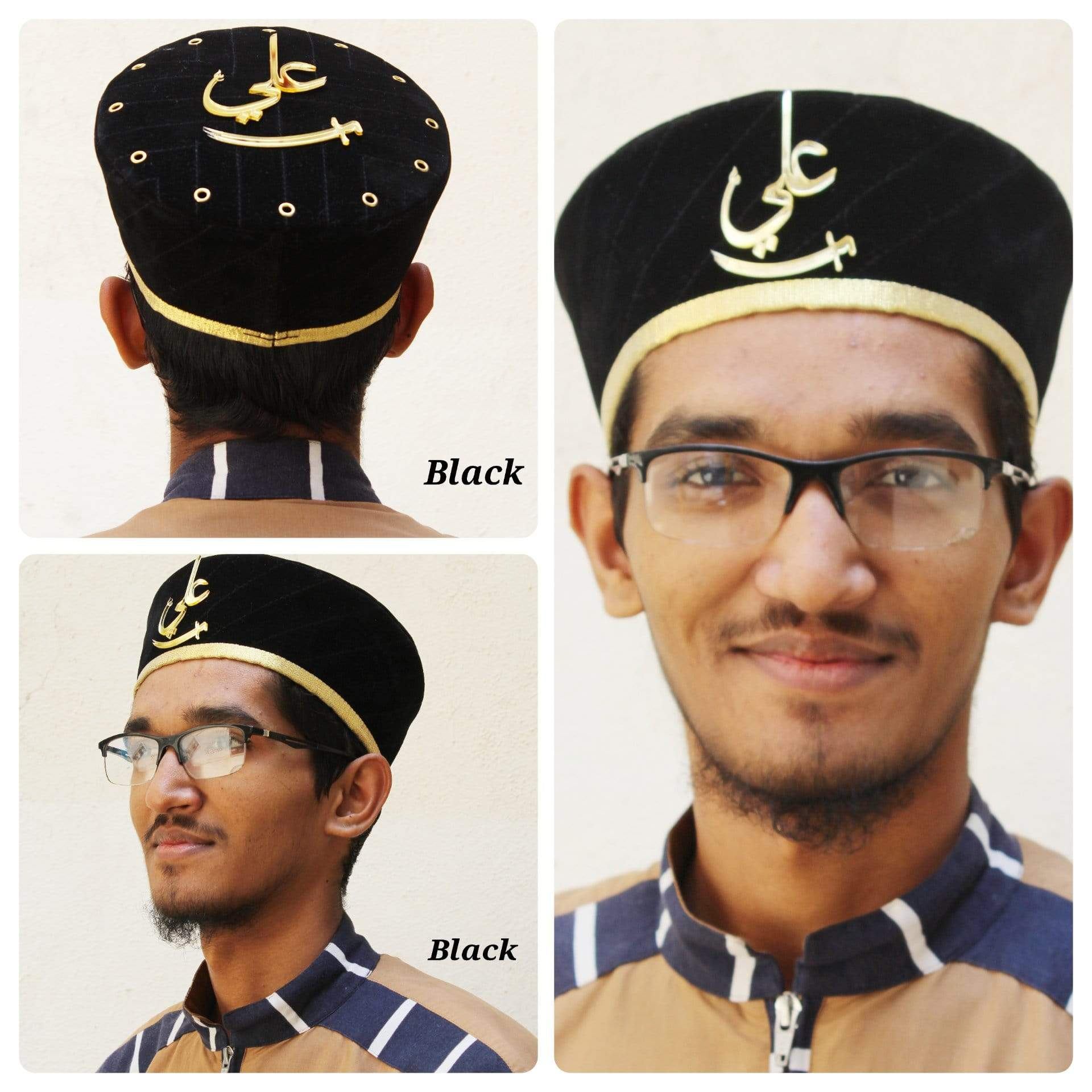 Adilqadri Latest Black Badshah Topi With Ali Written on Front And Top with golden Border #AQCAP