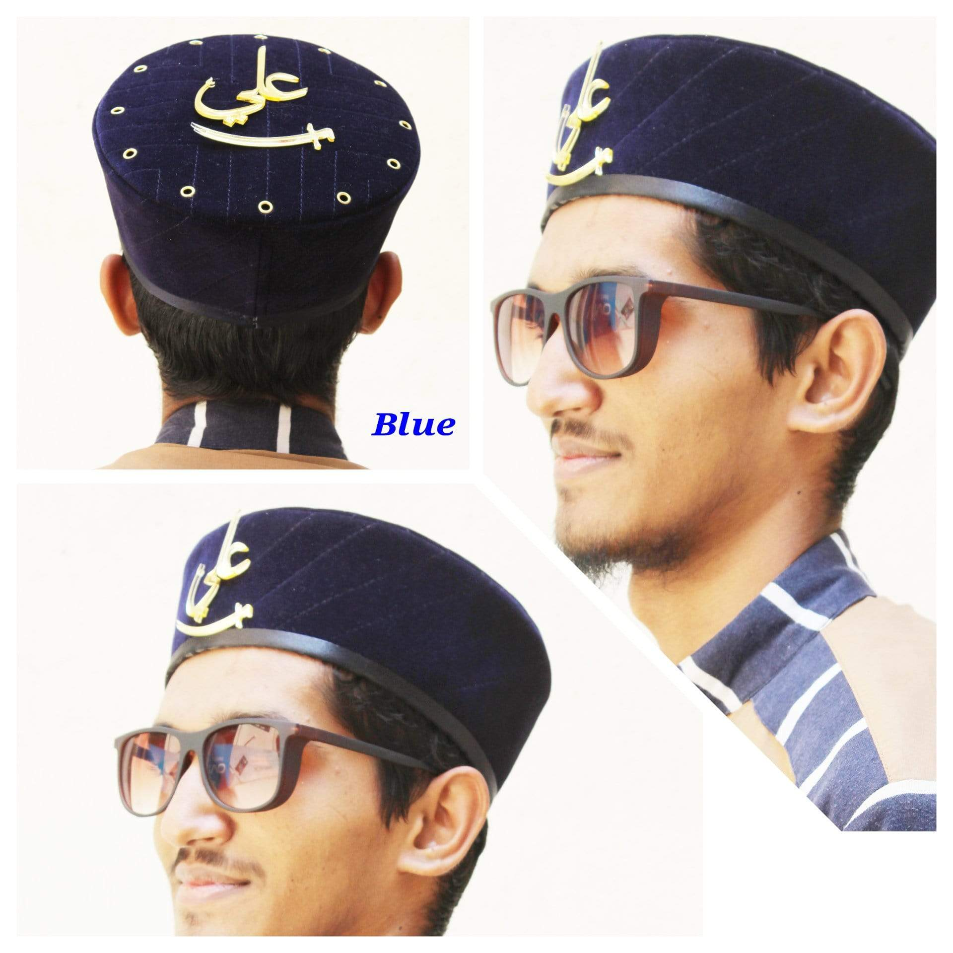 Adilqadri Latest Blue Badshah Topi With Ali Written on Front And Top  #AQCAP