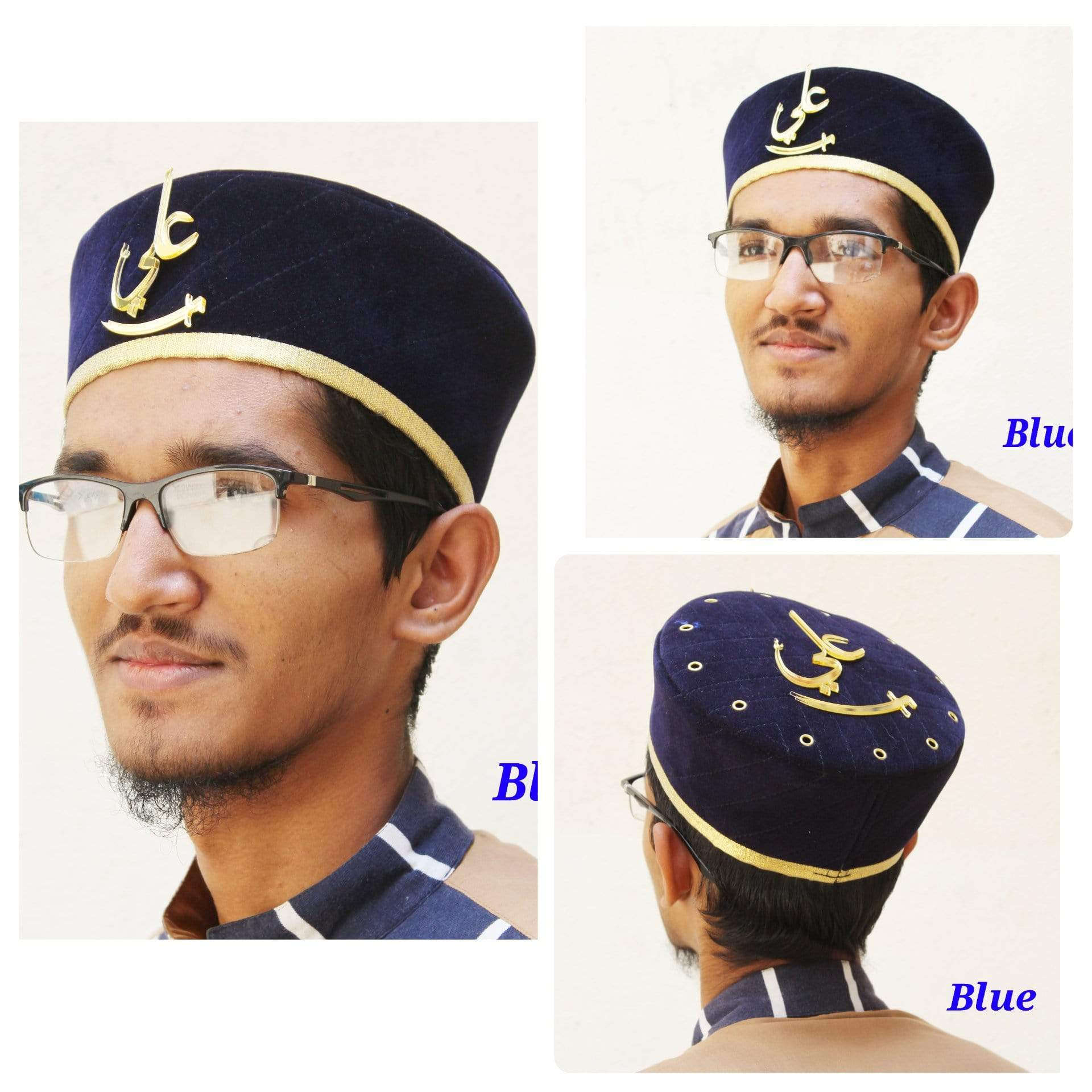 Adilqadri Latest Blue Badshah Topi With Ali Written on Front And Top with golden Border #AQCAP