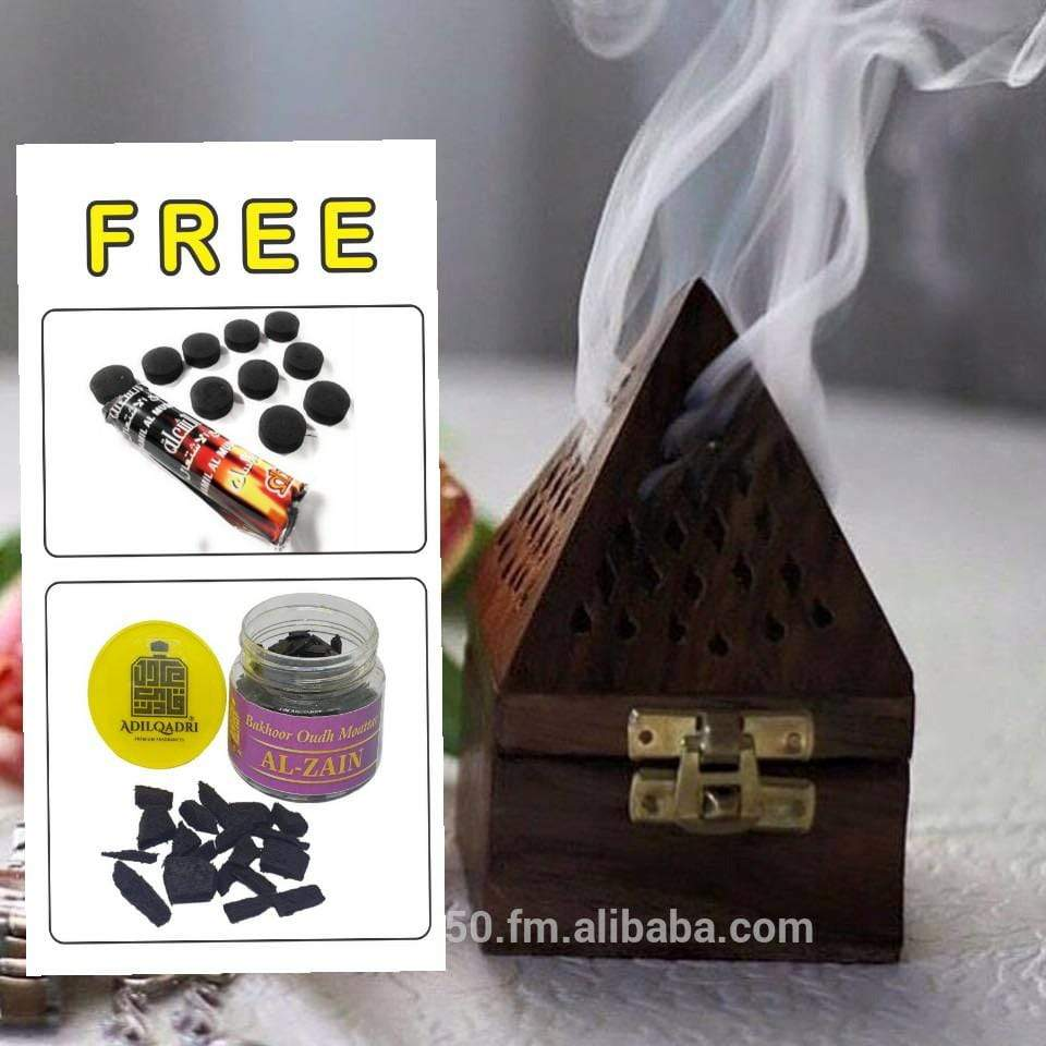 AdilQadri New Antiq WOODEN Bakhoor, Dhoop  Burner  With Free Bakhoor Chips  &  Charcoal Worth Rs. 650