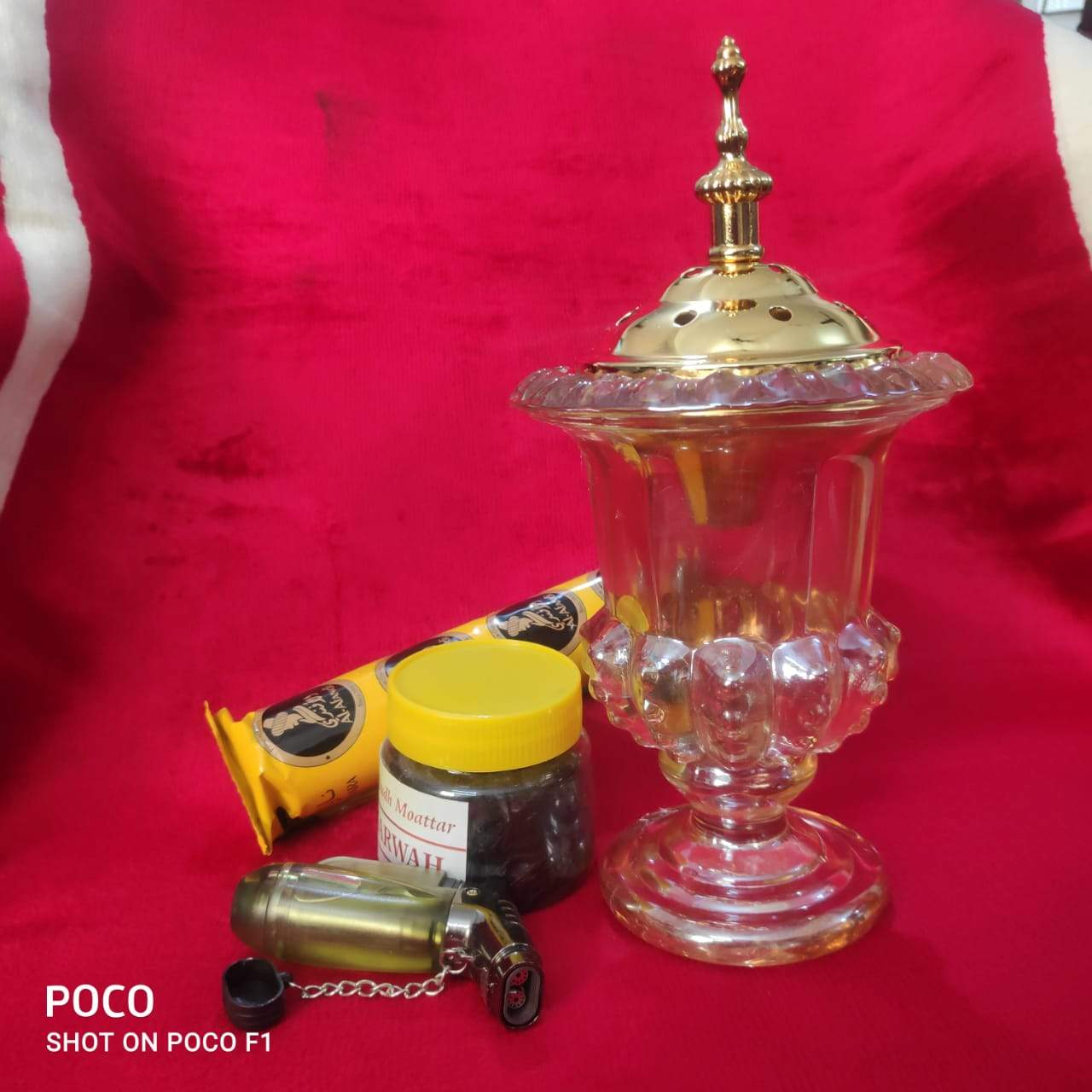 Adilqadri Ⓡ  Non Electric Bakhoor Oudh Burner crystal With free Charcoal & Bukhur Chips & Lighter Gun  Worth Rs. 1199