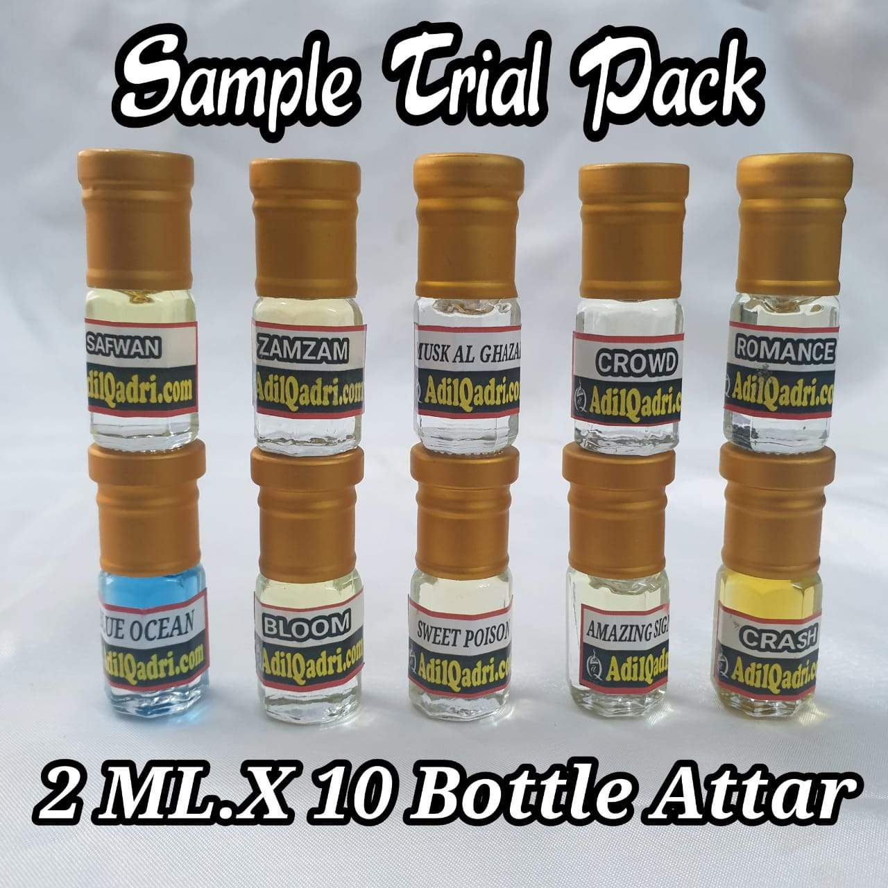 AdilQadri Premium Attar  Sample  Trial pack  2 ml x 10 Bottle