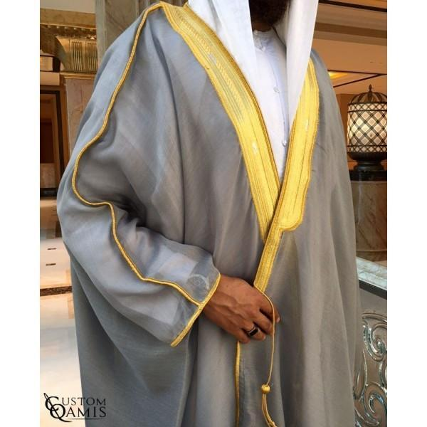 Buy Arabic Bisht Thobe Grey Colour Online in india | Adilqadri.com