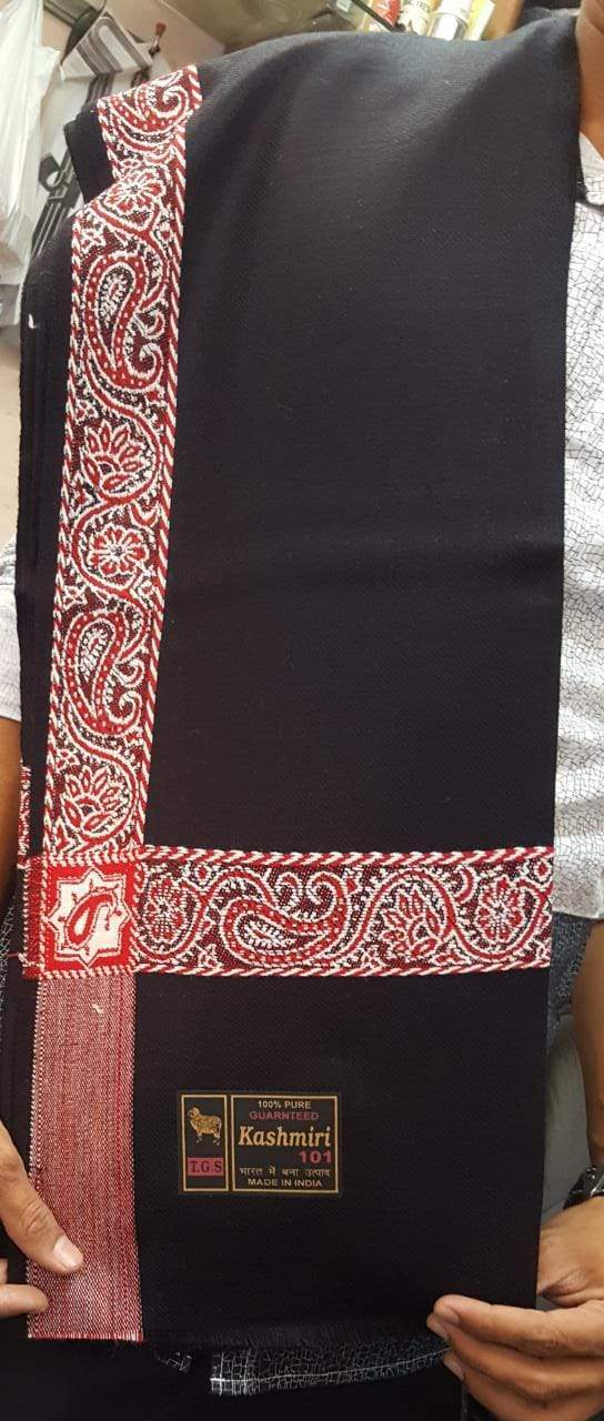 Black  colour Shawl plain fabric with beautiful embroidery Line .