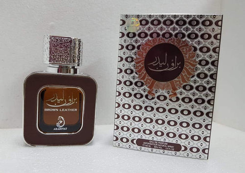 BROWN LEATHER Perfume SPRAY By  Arabiyat  100ml. imported  MADE IN U.A.E.  DUBAI