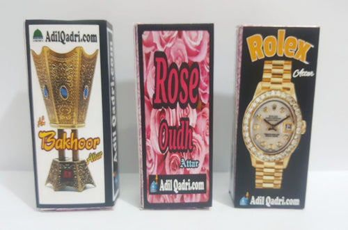 Buy 3 Attar At Price of 2 (Attar Combo) Adil qadri Rose Oudh, Rolex, Al Bakhoor