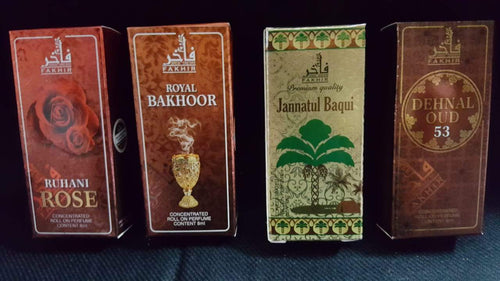 Buy 4 Attar At Price of 2  (Attar Combo)  Fakhir (Made in U.A.E. Dubai) Orignal Imported 8ml Attar Jannatul Baqui, Ruhani Rose,Dehnal Oudh53, Bakhoor
