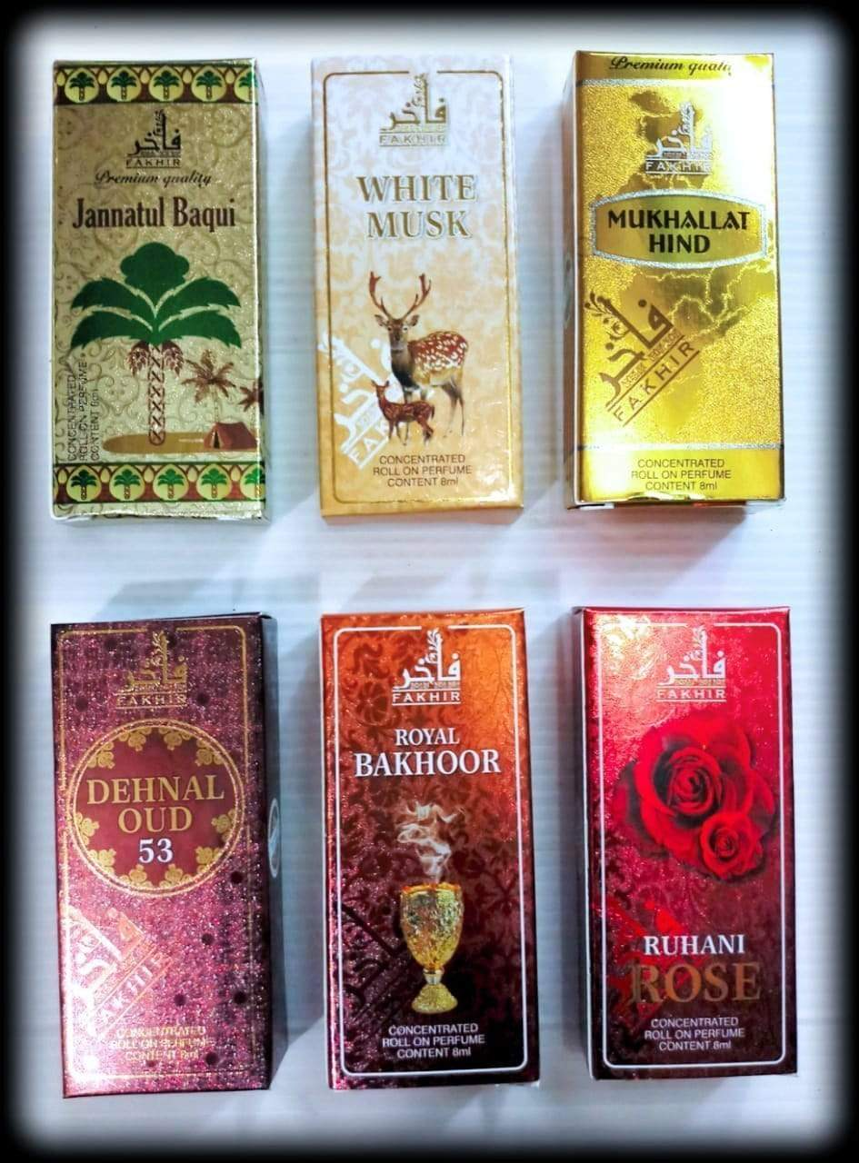 (COMBO) Buy 4 Synthetic Attar At Price of 2  (Synthetic Attar Combo)  Fakhir (Made in U.A.E. Dubai) Orignal Imported 8ml Synthetic AttarMukhallat Hind, white musk,Ruhani Rose, Bakhoor,,Janntul baquei,Dehnal Oudh (Any 4)