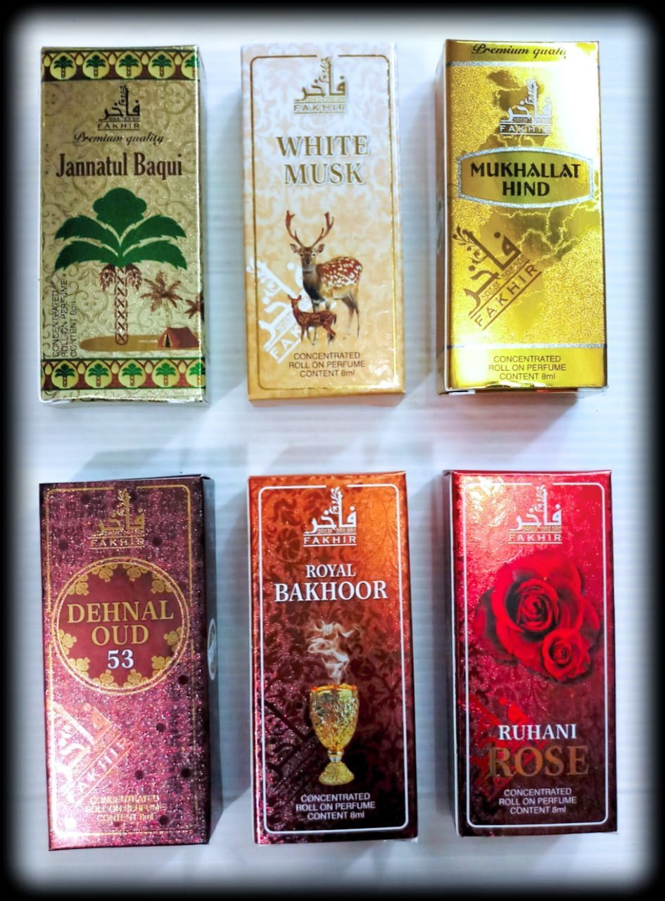 (COMBO) Buy 6 Synthetic Attar At Price of 3 (Synthetic Attar Combo)  Fakhir (U.A.E.) 8ml Perfume Dehnal Oudh, white musk,Ruhani Rose, Bakhoor,Jannatul Baqui,Mukhalat Hind
