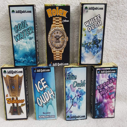 Buy 7 Attar At Price of 4 (Attar Combo) Adil Qadri -Blue Oudh,White Oudh, Ice oudh,cool Water,Zeenat Musk,Rolex,Al Bakhoor