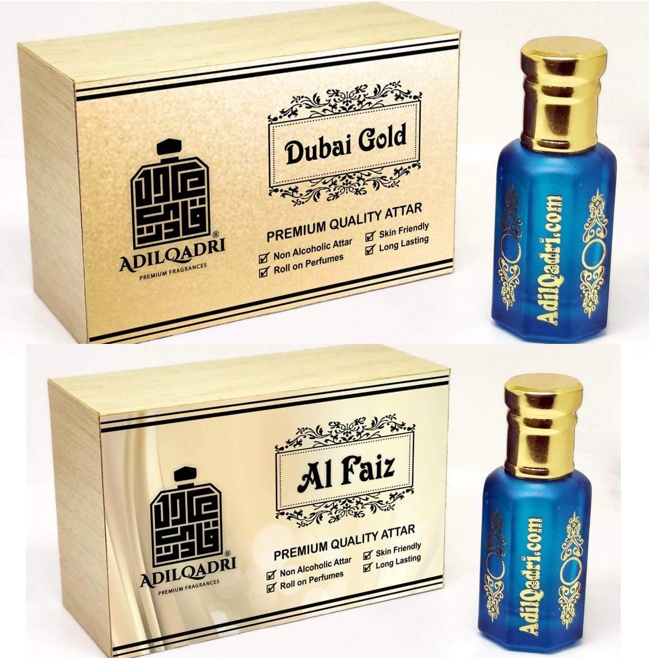 (Combo) Adilqadri Al Faiz & Dubai Gold Premium Quality 10 Ml Synthetic Attar With Atractive Wooden Box