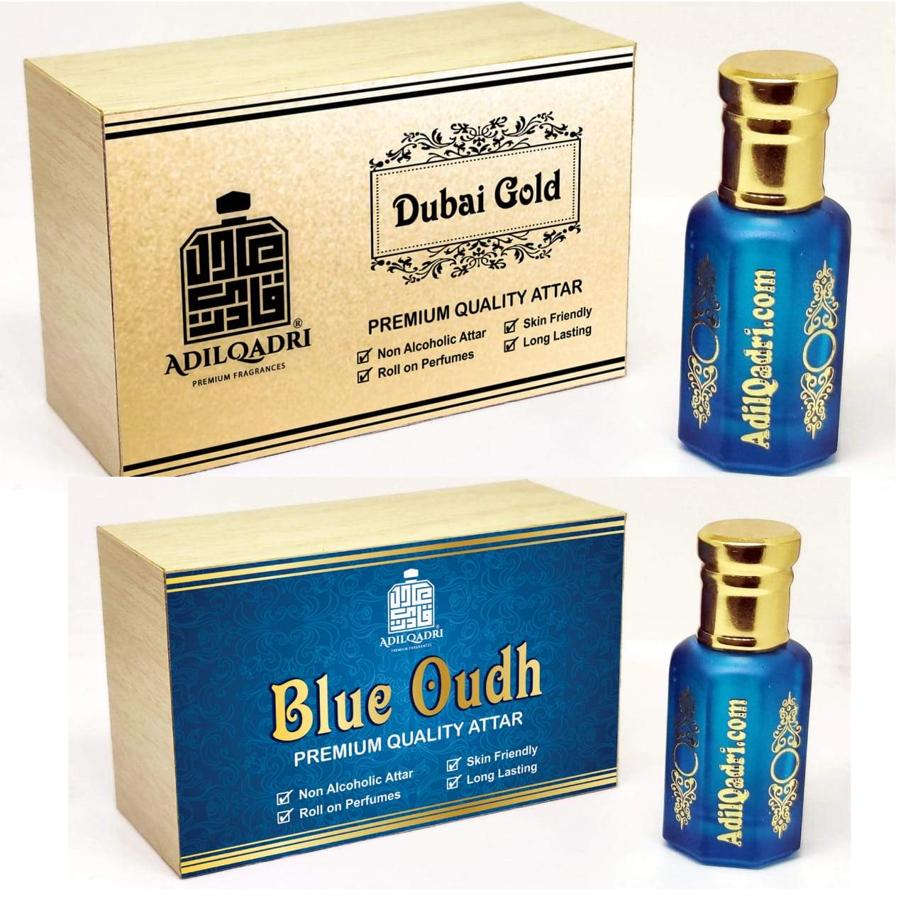 (Combo) Adilqadri Dubai Gold & Blue Oudh  Premium Quality 10 Ml Synthetic Attar With Atractive Wooden Box