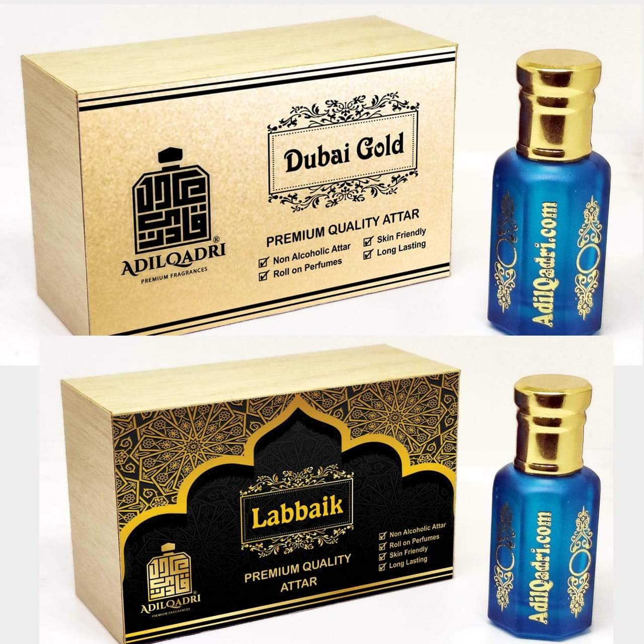 (Combo) Adilqadri Labbaik & Dubai Gold  Premium Quality 10 Ml Synthetic Attar With Atractive Wooden Box