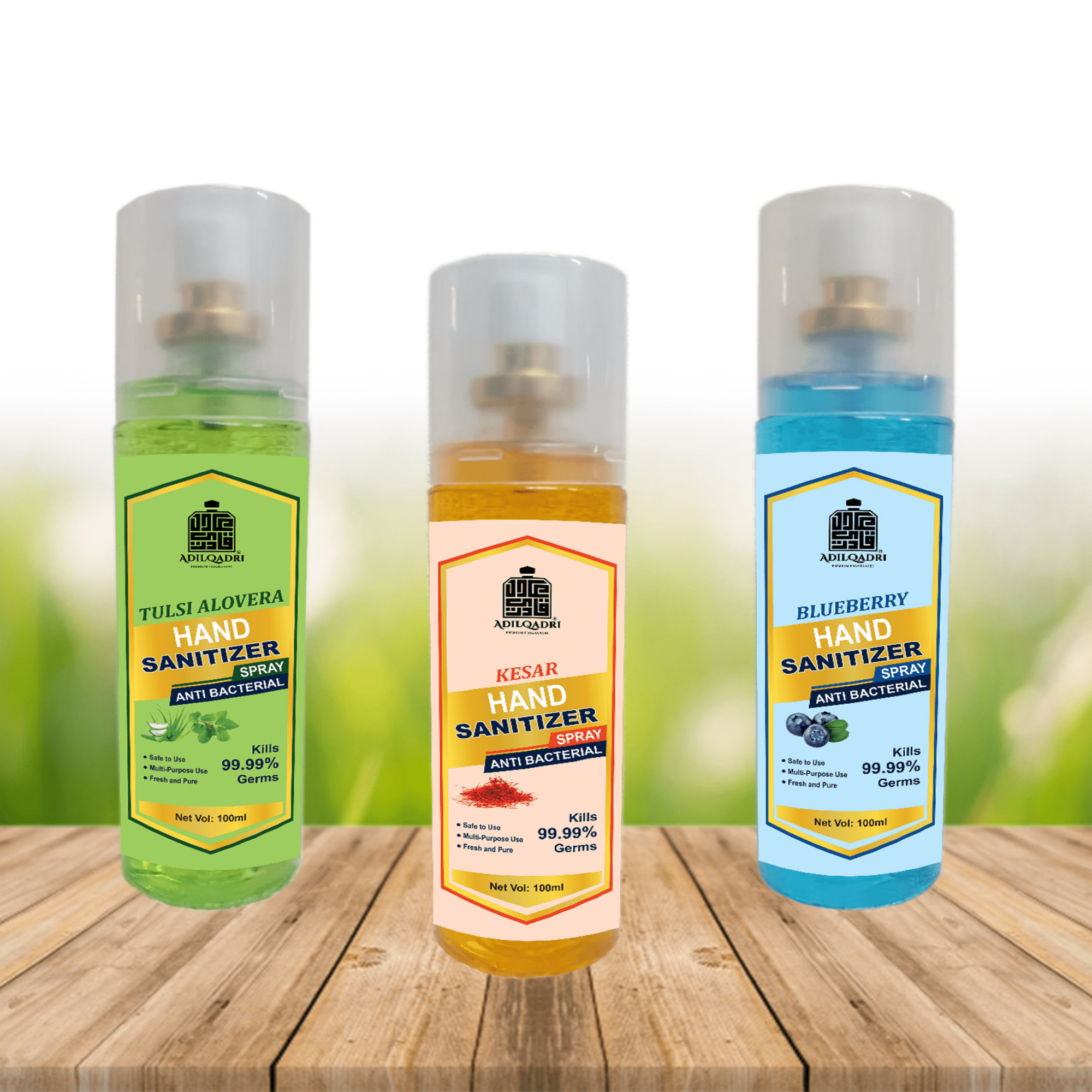 ( Combo ) Adilqadri SANITIZER LIQUID SPRAY Tulsi Alovera , Kesar, Blueberry - 100 ML* 3 PC Sanitizer Spray (3 x 100 ml)