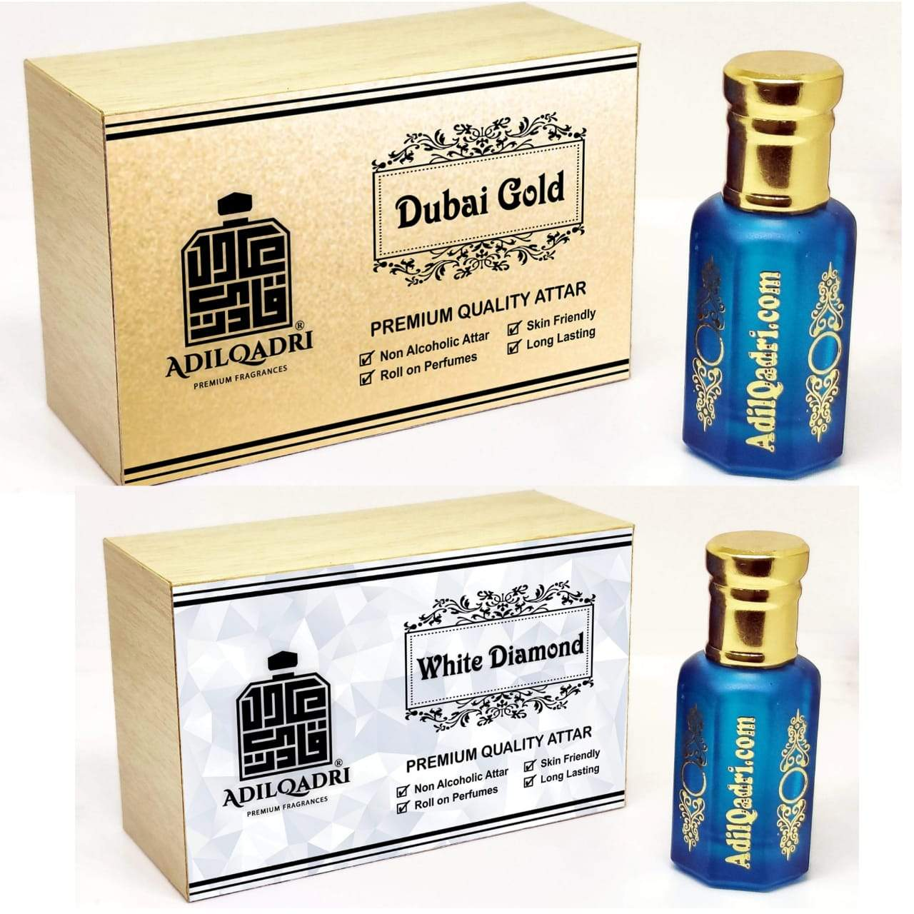 (Combo) Adilqadri White Dimond & Dubai Gold  Premium Quality 10 Ml Synthetic Attar With Atractive Wooden Box
