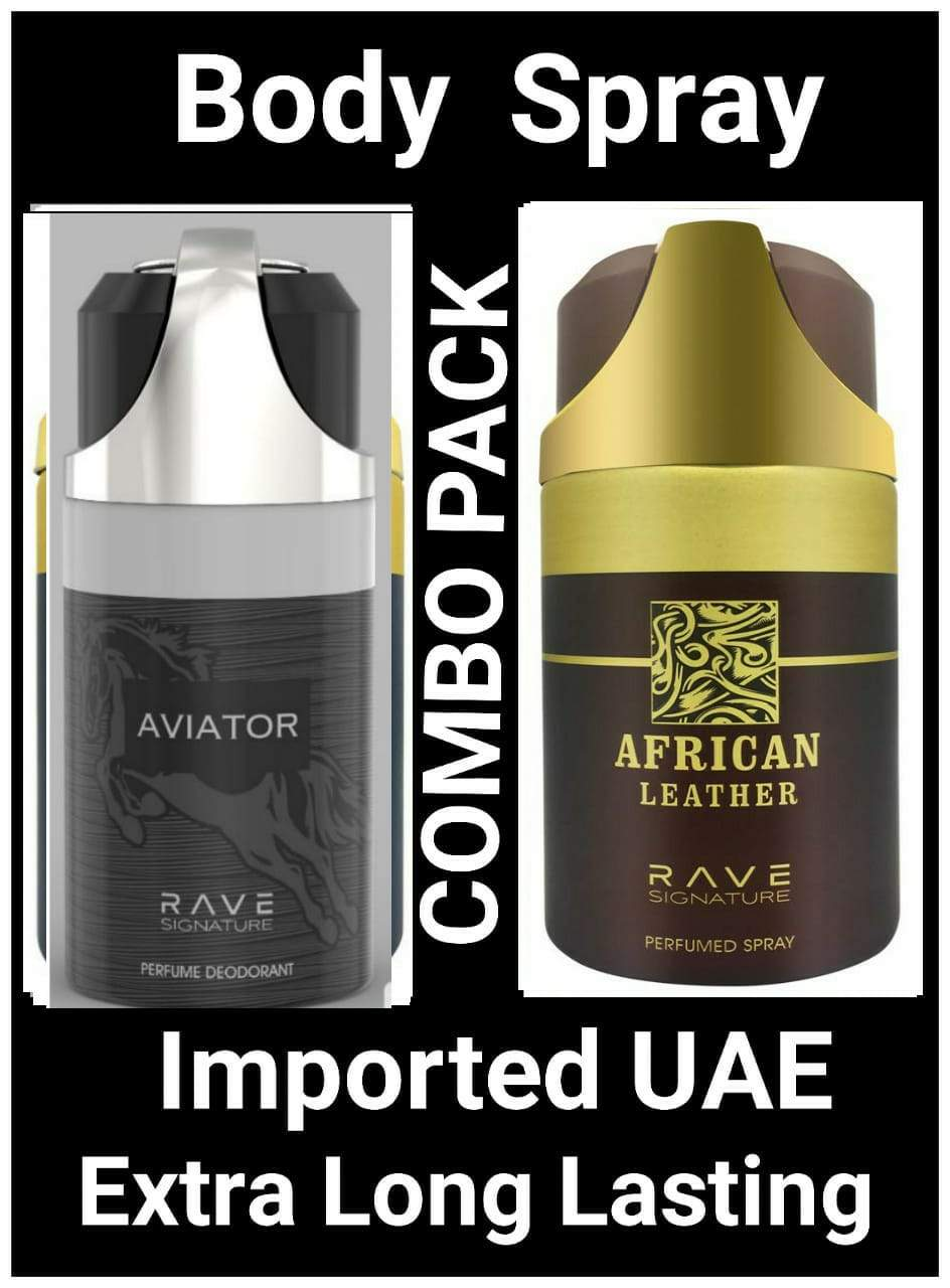 (COMBO) AFRICAN LEATHER +AVIATOR BLACK  Arabic Body Spray Big size 2 pcs. combo Imported Orignal Made in UAE