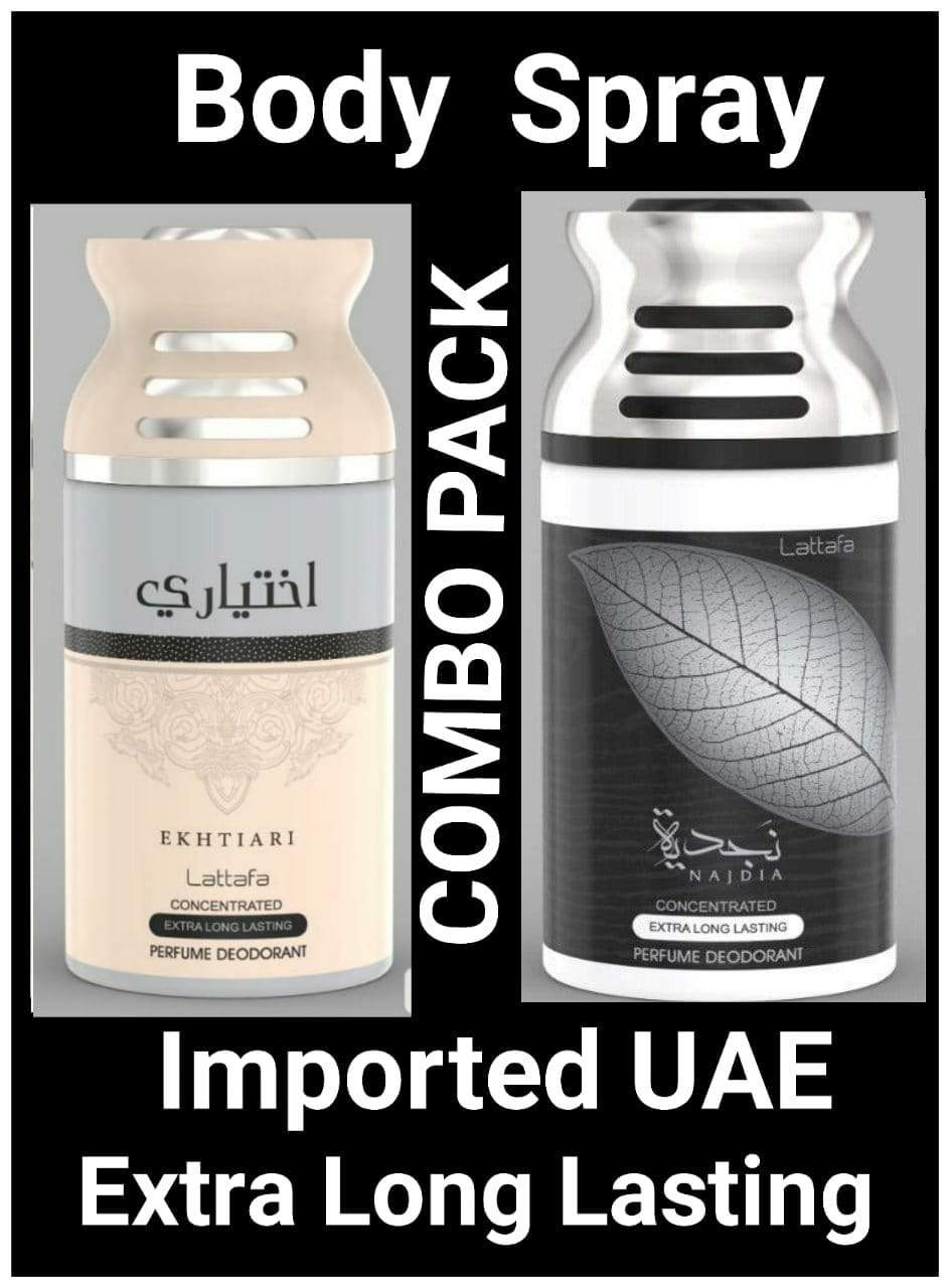 (COMBO) Ekhtari +Najdia Arabic Body Spray Big size 2 pcs. combo Imported Orignal Made in UAE