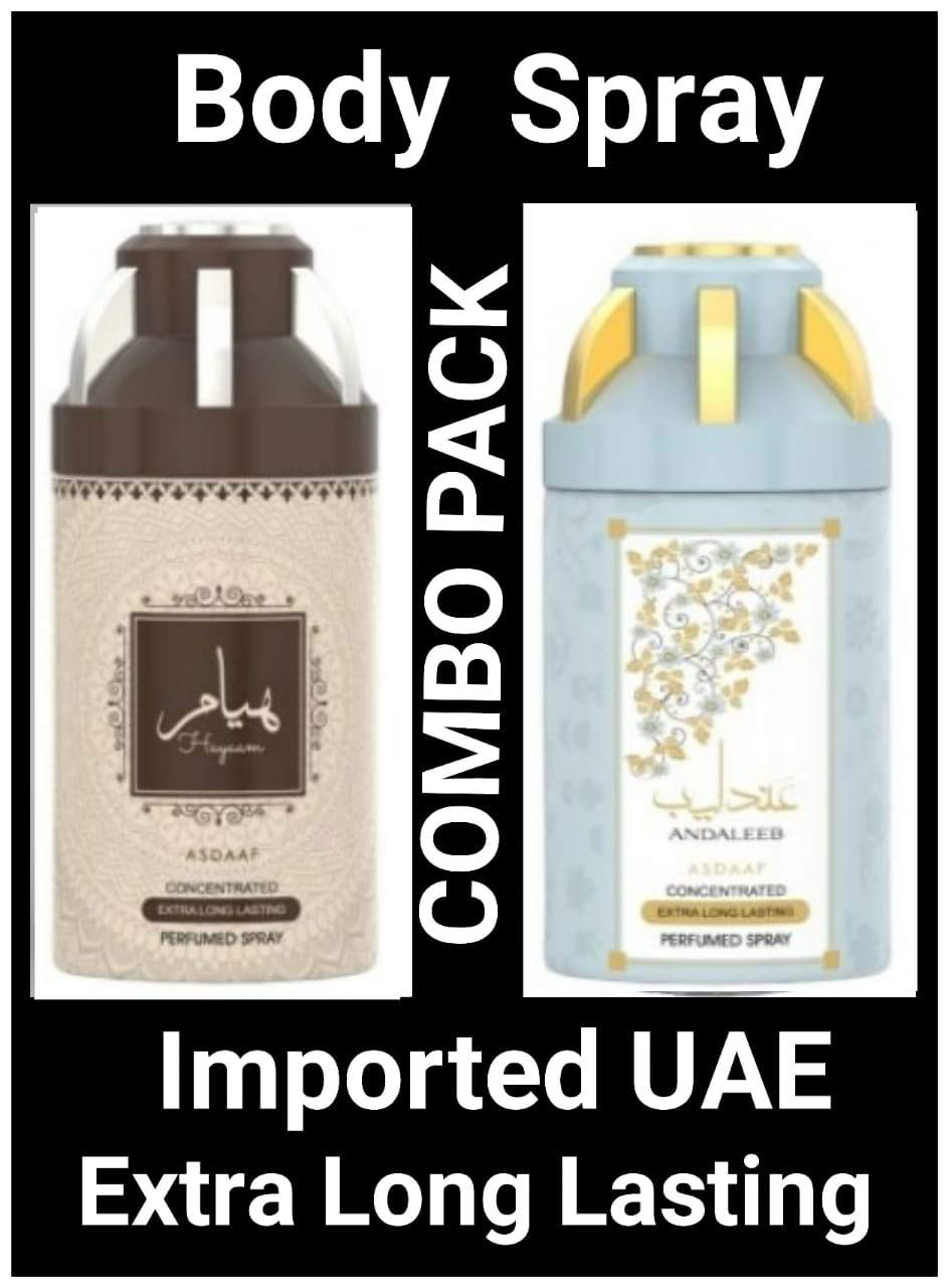 (COMBO) HAYYAM+ANDALEEB Arabic Body Spray Big size 2 pcs. combo Imported Orignal Made in UAE