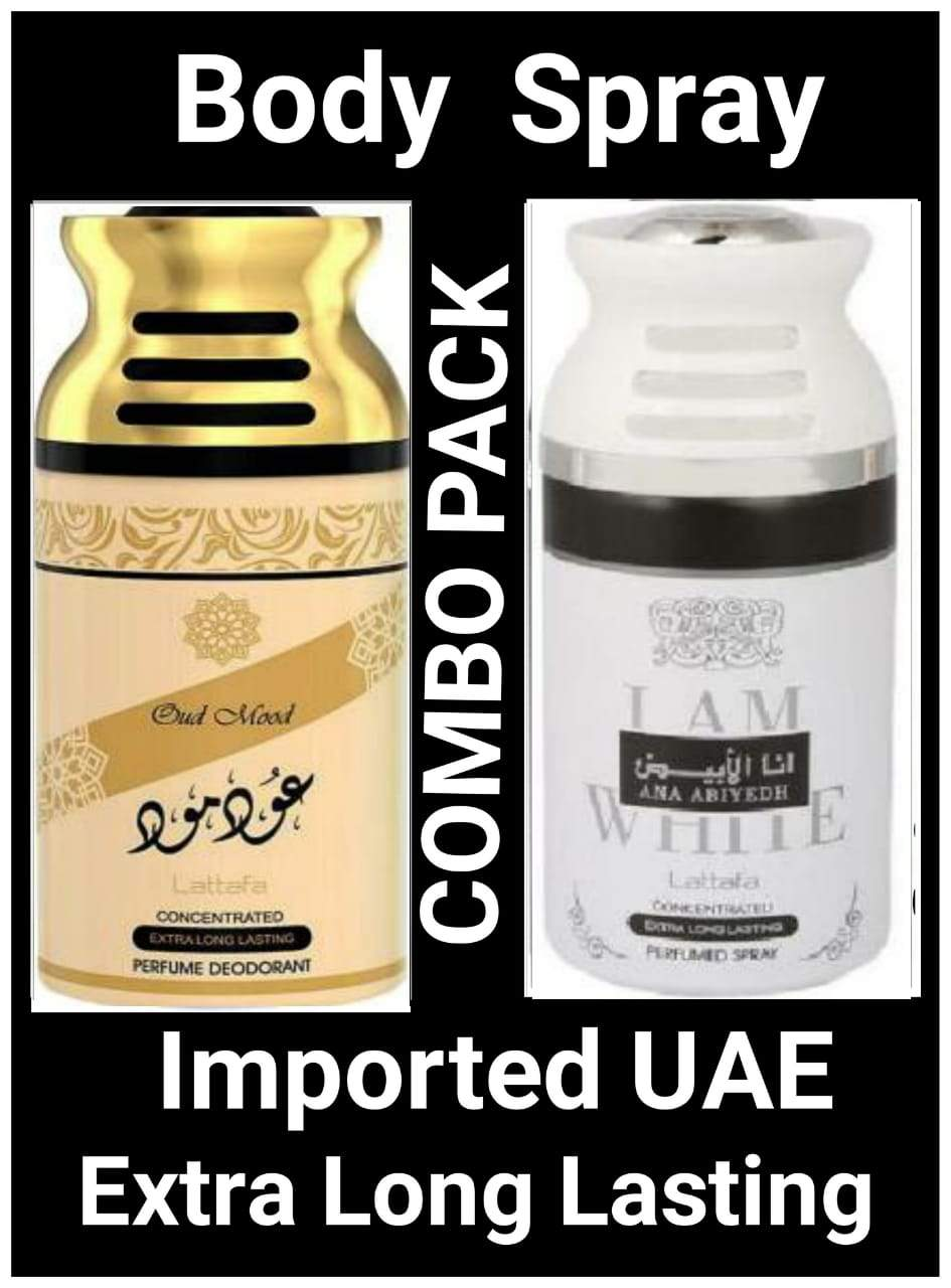 (COMBO) I Am White Ana Abiyah +Oud Mood Arabic Body Spray Big size 2 pcs. combo Imported Orignal Made in UAE
