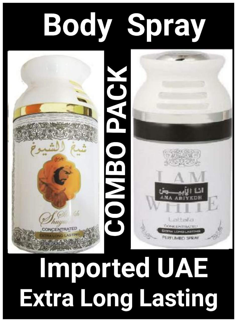 ( COMBO) I Am White Ana Abiyah +Saiukh ul Shaikh White Arabic Body Spray Big size 2 pcs. combo Imported Orignal Made in UAE