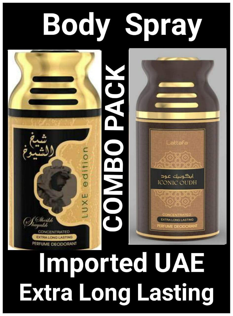 (COMBO) Iconic Oud+SHEIKH AL SHUYUKH  Gold  Arabic Body Spray Big size 2 pcs. combo Imported Orignal Made in UAE