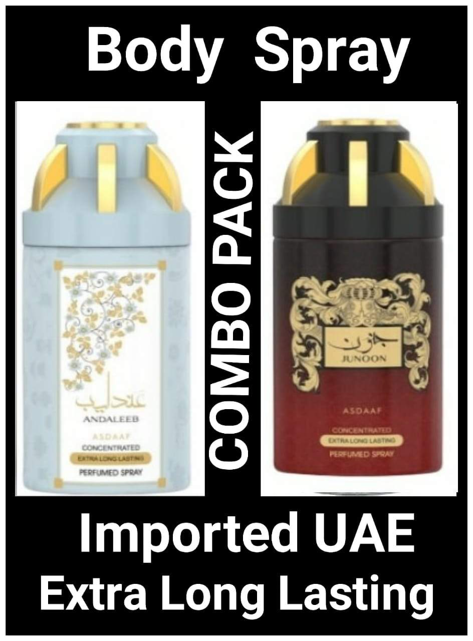 (COMBO) JUNOON+ANDALEES Arabic Body Spray Big size 2 pcs. combo Imported Orignal Made in UAE