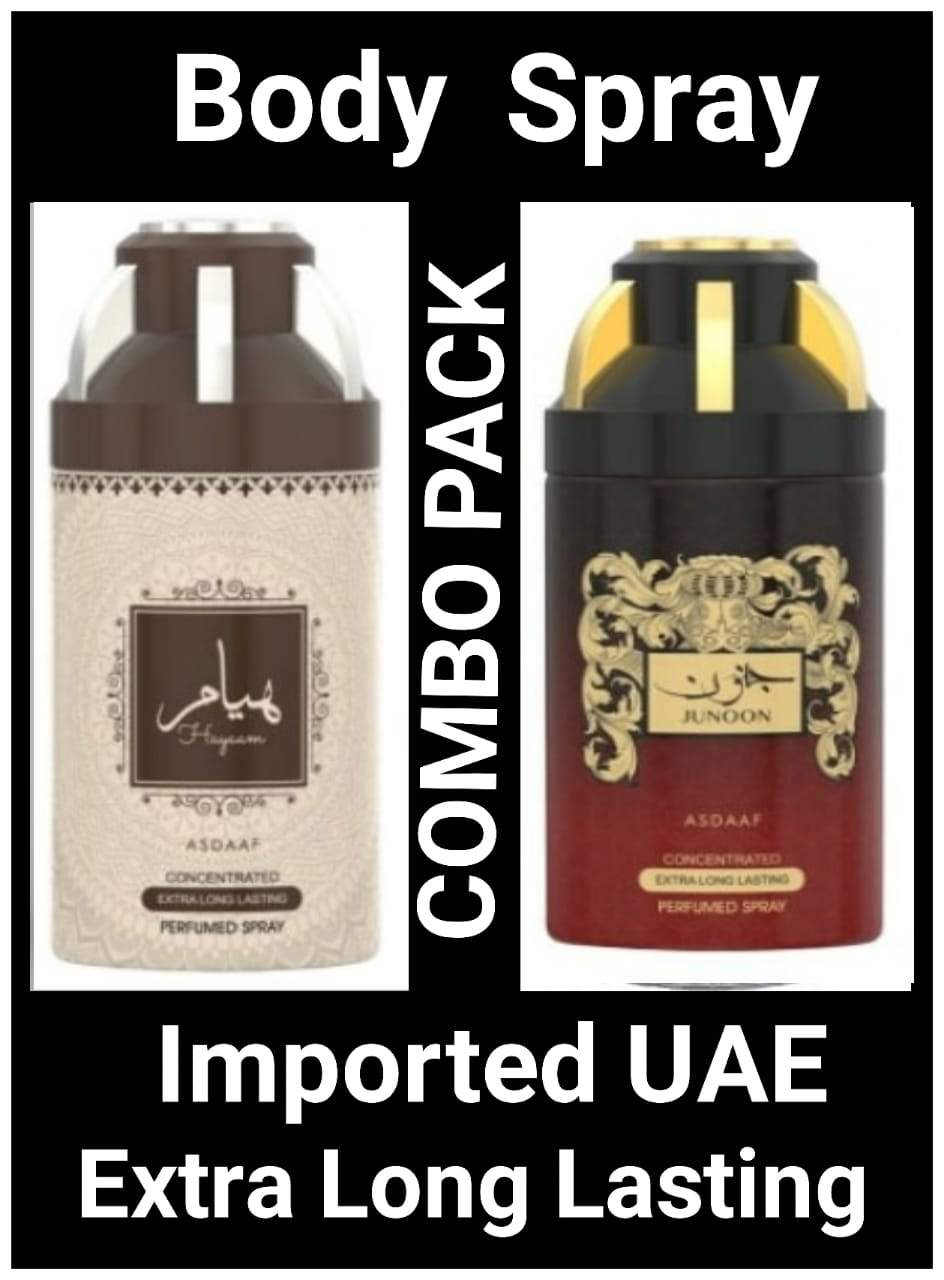 (COMBO) JUNOON+HAYYAM Arabic Body Spray Big size 2 pcs. combo Imported Orignal Made in UAE