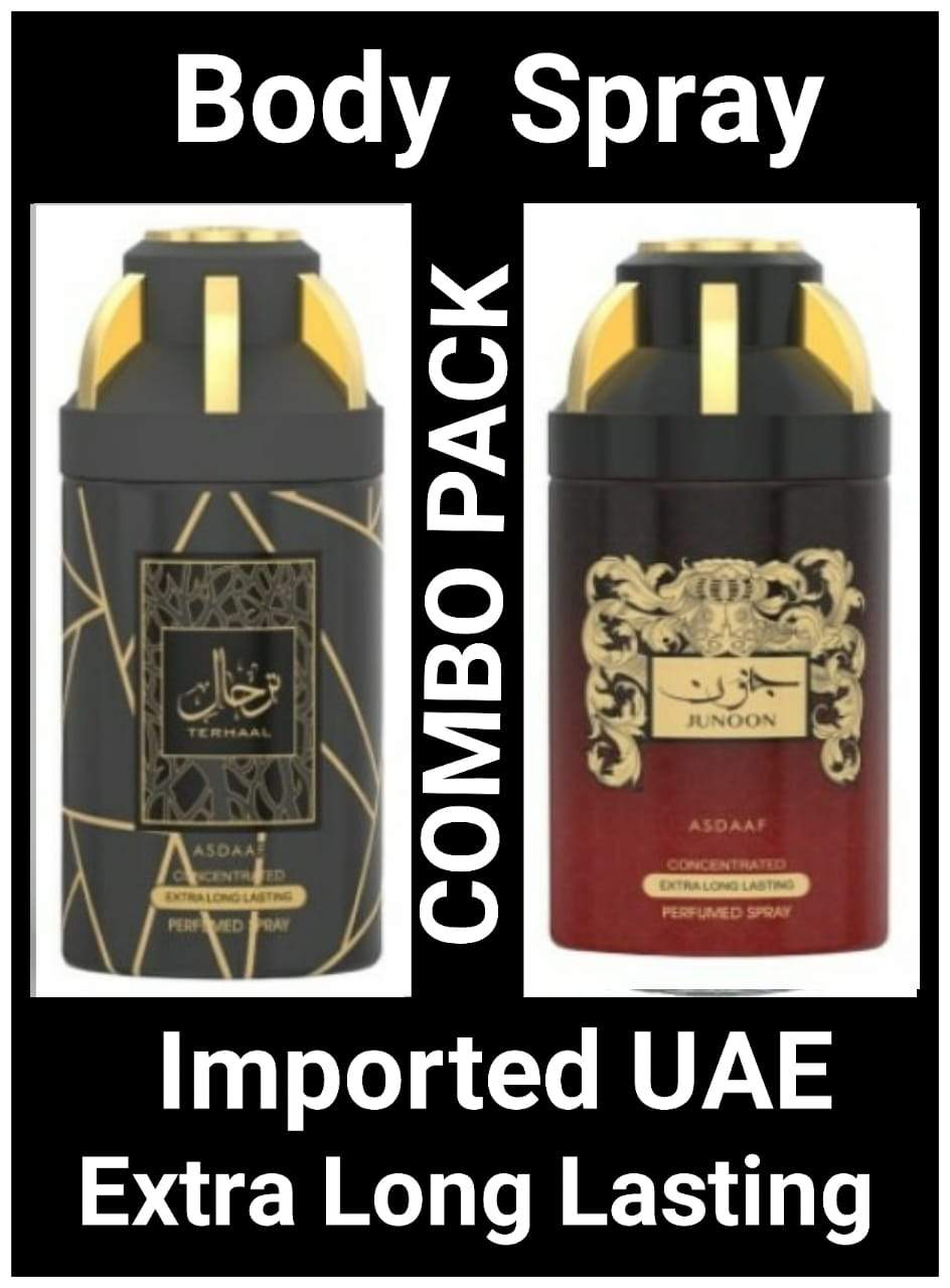 (COMBO) JUNOON+TEHRAL Arabic Body Spray Big size 2 pcs. combo Imported Orignal Made in UAE