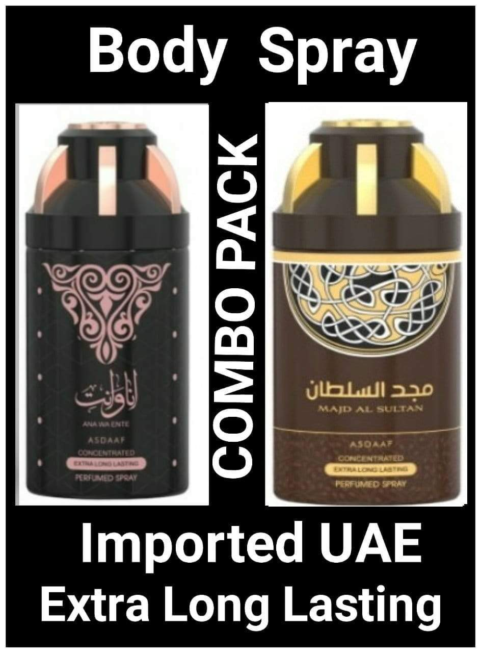 (COMBO ) MAJD AL SULTAN+ANA WA ENTE Arabic Body Spray Big size 2 pcs. combo Imported Orignal Made in UAE
