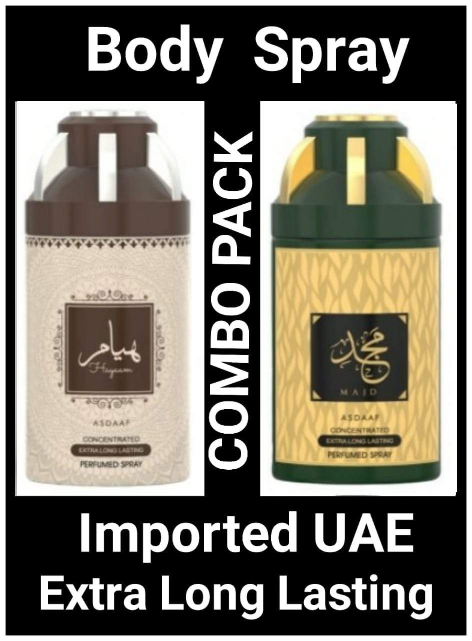 (COMBO) MAJD + HAYYAM Arabic Body Spray Big size 2 pcs. combo Imported Orignal Made in UAE