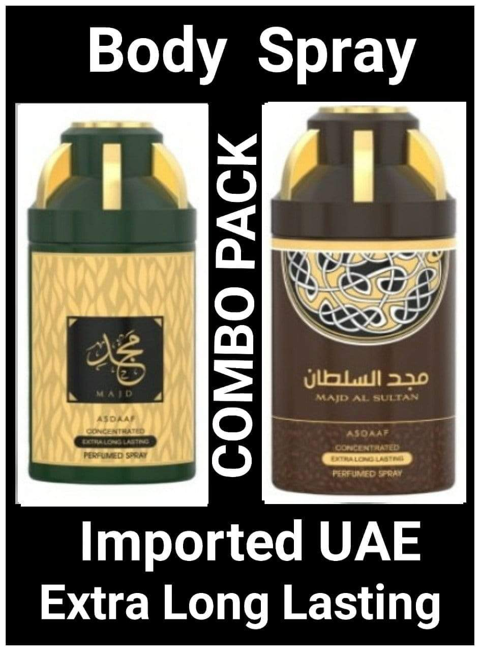 (COMBO) MAJD + MAJD AL SULTAN Arabic Body Spray Big size 2 pcs. combo Imported Orignal Made in UAE