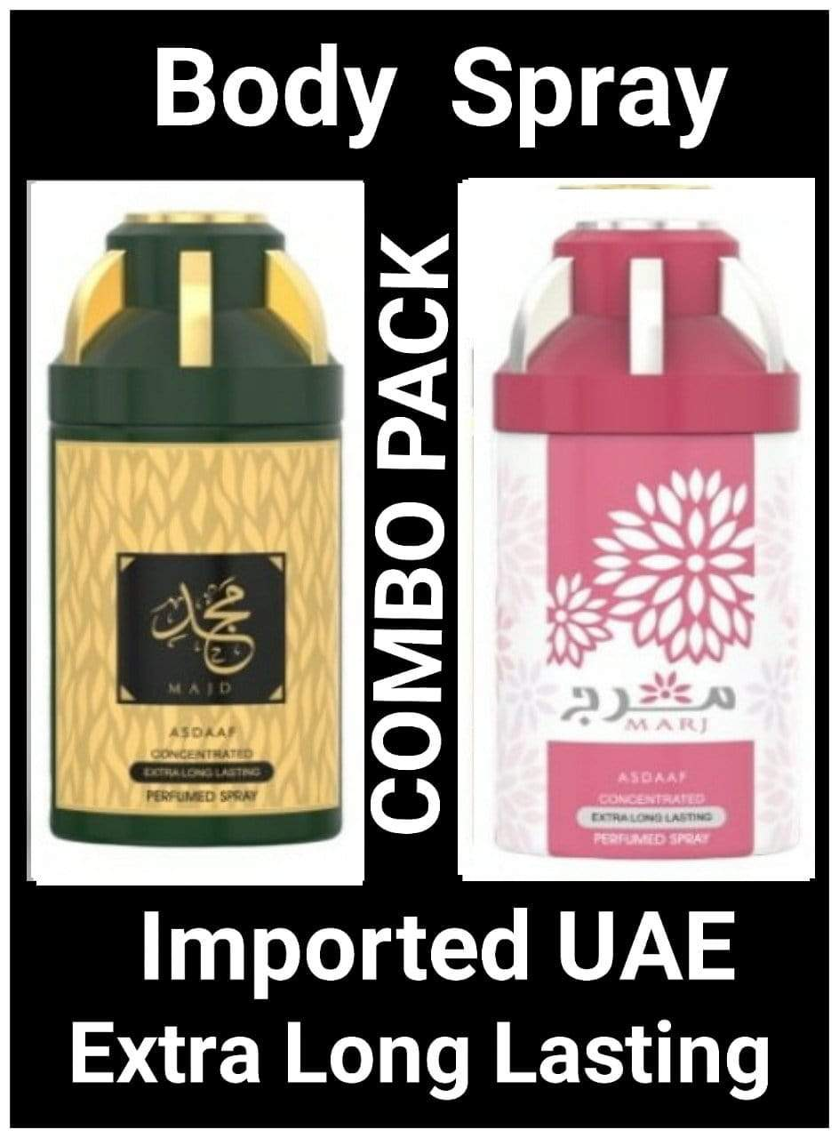 (COMBO) MAJD + MARJ Arabic Body Spray Big size 2 pcs. combo Imported Orignal Made in UAE
