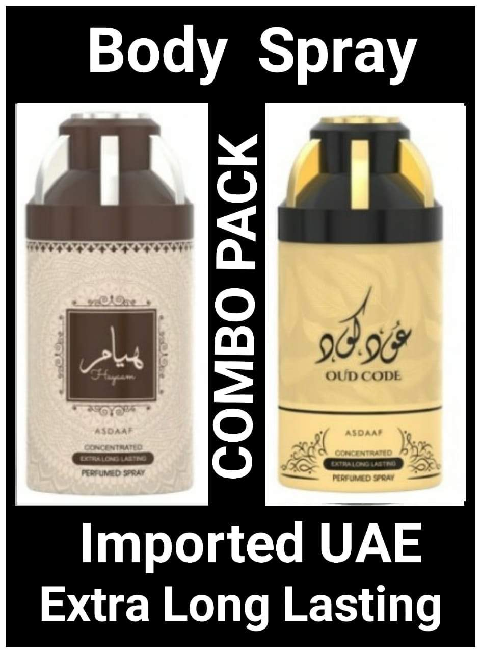 (COMBO) OUD CODE+ HAYYAM Arabic Body Spray Big size 2 pcs. combo Imported Orignal Made in UAE