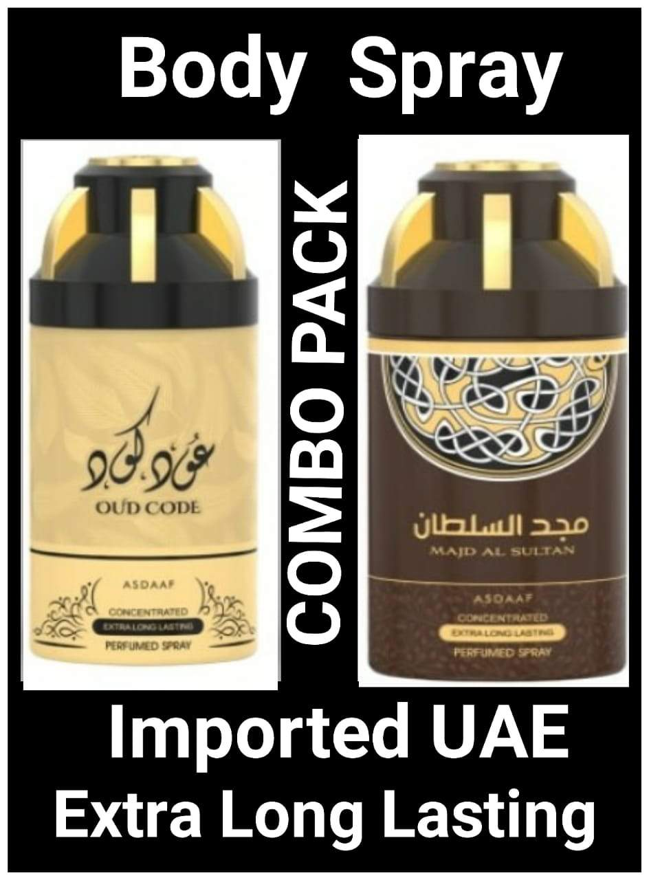 (COMBO) OUD CODE + MAJD AL SULTAN Arabic Body Spray Big size 2 pcs. combo Imported Orignal Made in UAE