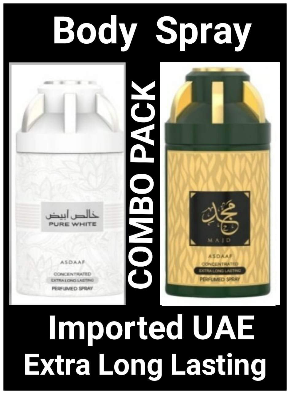 (COMBO) PURE WHITE + MAJD  Arabic Body Spray Big size 2 pcs. combo Imported Orignal Made in UAE
