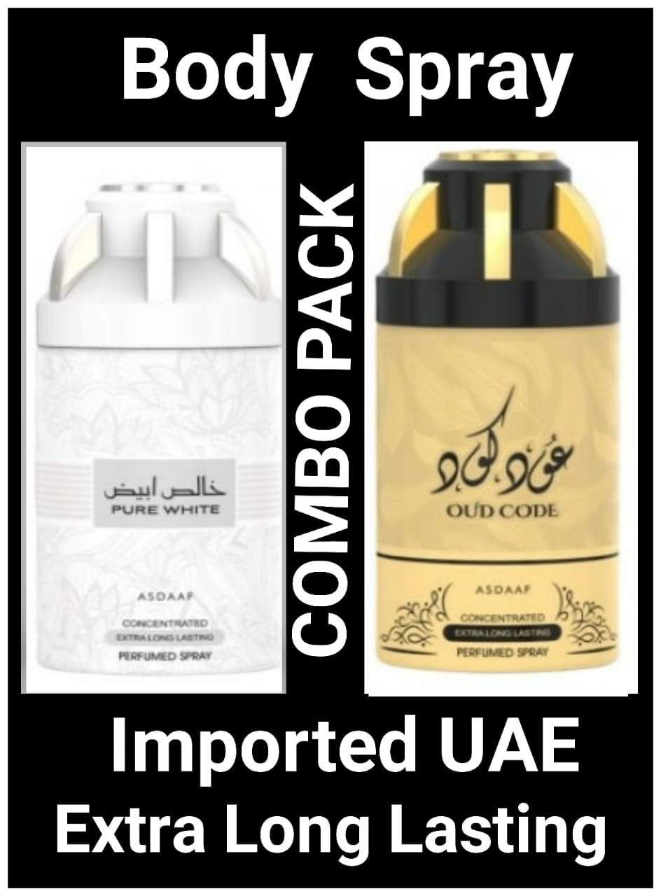 (COMBO) PURE WHITE + OUD CODE  Arabic Body Spray Big size 2 pcs. combo Imported Orignal Made in UAE