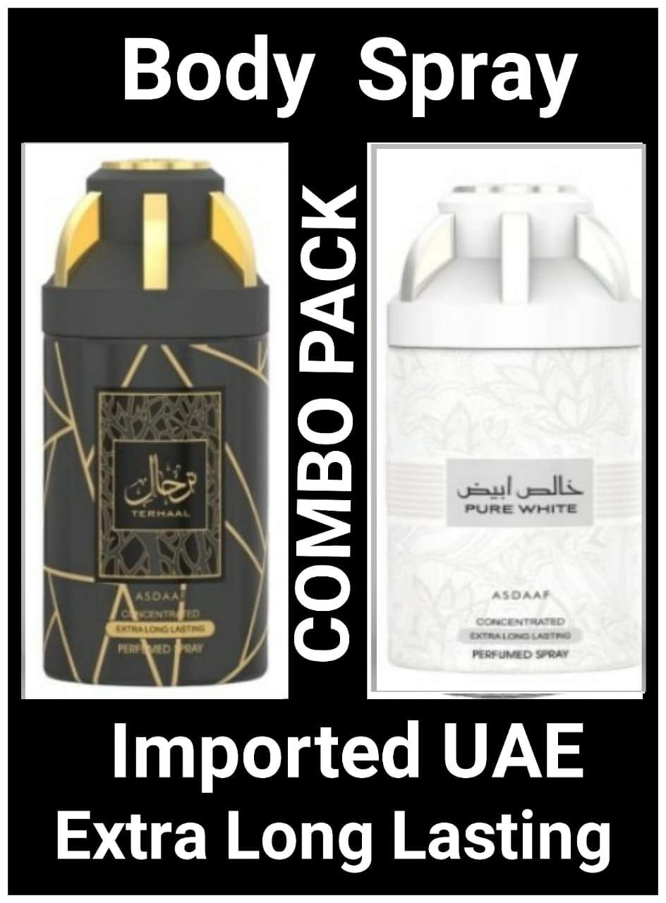 (COMBO) PURE WHITE+TERHAAL Arabic Body Spray Big size 2 pcs. combo Imported Orignal Made in UAE